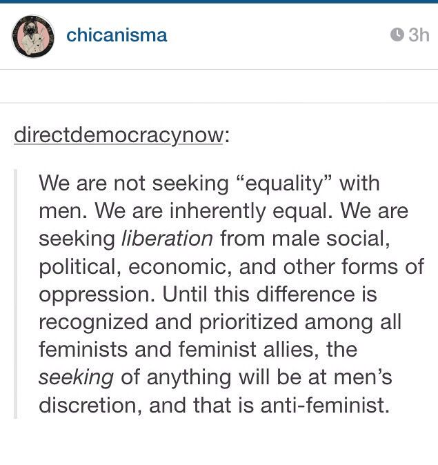 Feminism is about liberation. I want this tattooed to my forehead or broadcasted in the sky. people don't understand that gender and racial inequality are actual problems we need to address years ago and at a minimum RIGHT NOW.