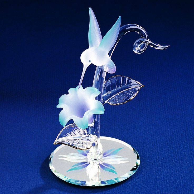 Glass Baron Blue Flower with Hummingbird Figurine #glassbaron #glass #figurine