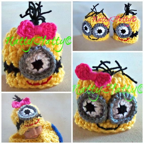 Despicable Me Minion For Girl  Crochet Hat and bow, Minion Halloween costume, Despicable me minion baby costume on Etsy, $16.99