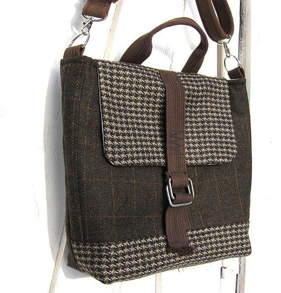 Messenger Bag, Travel Bag, Satchel, Macbook, Laptop, Dark Brown, Brown plaid, Suit Coat Bag, Wool messenger bag, Phelps Mtn
