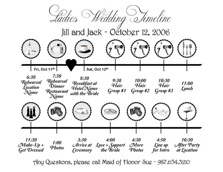 Timeline Templates - Ladies Wedding Timeline