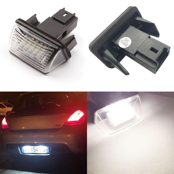 12V 2pcs ERROR 18 LEDs LICENSE NUMBER PLATE LIGHT Bulbs FOR PEUGEOT 206 207 307 308 406 407 5008 Citroen C3 C3 C4 C5
