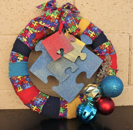 Awesome Autism Christmas wreath