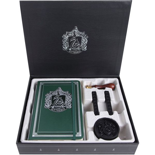 Harry Potter Slytherin Deluxe Stationery Set Hot Topic ($28) ❤ liked on Polyvore featuring home, home decor and stationery
