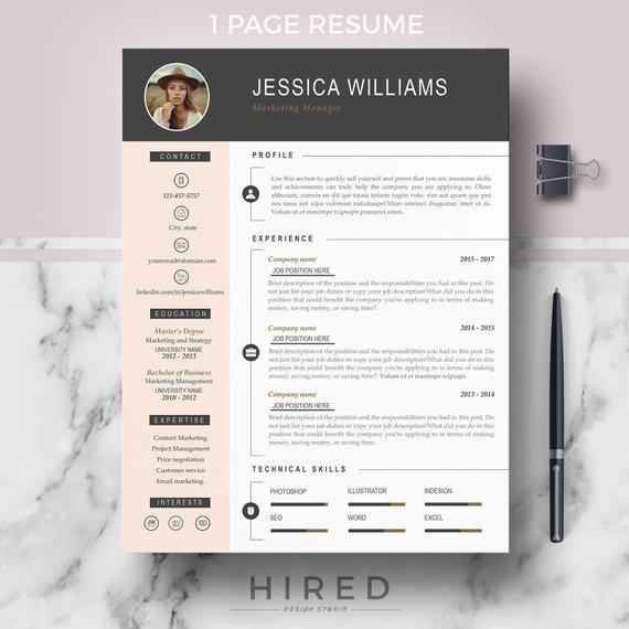 Resume Template With Photo Curriculum Vitae Cv Cover Etsy Modern Resume Template Resume Template Professional Cv Template Professional