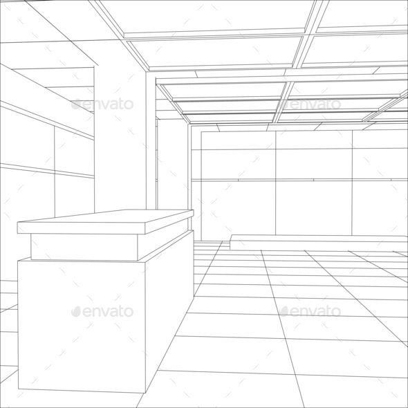 Interior office outlined. Tracing illustration of 3d - Stock Photo - Images