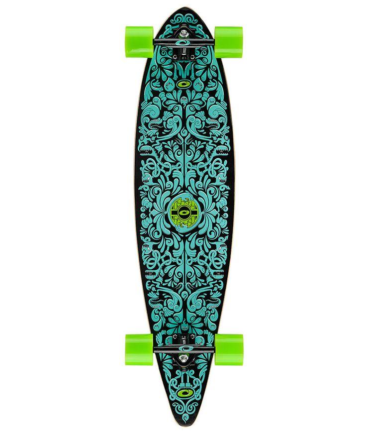 Spectrum Pintail Longboard Skateboard | Complete Single Kick Board with Green Wheels