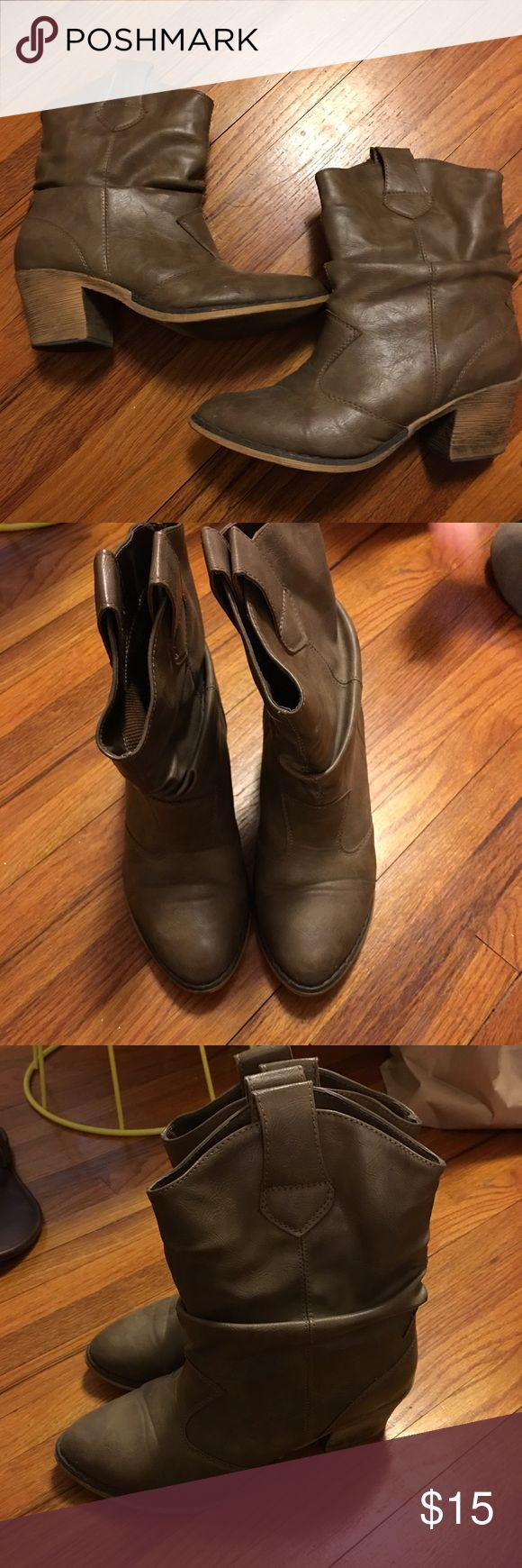Charles Albert Tan Slouchy Short Cowboy boots These are super comfy and can be worn with just about anything. Perfect with dresses or also under bootcut jeans or over skinny jeans. Marked as 7.5 but seem to fit in between a 7 and 7.5. Shoes Heeled Boots