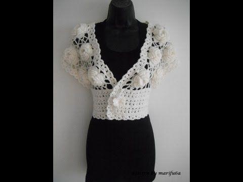 how to crochet wedding shrug bolero with big roses free pattern tutorial