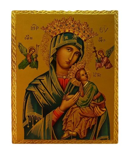 Our Lady of Perpetual Help Icon from Italy. Madonna Our Lady of perpetual help has been known to help with the most difficult situations. Entire Background is a golden symbol of Heaven, where Jesus an