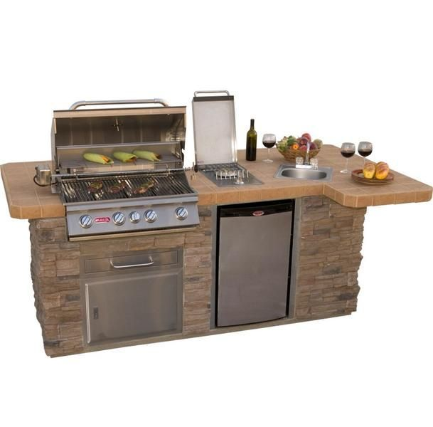 Bull outdoor products bbq island w angus grill sink for Outdoor kitchen refrigerators built in