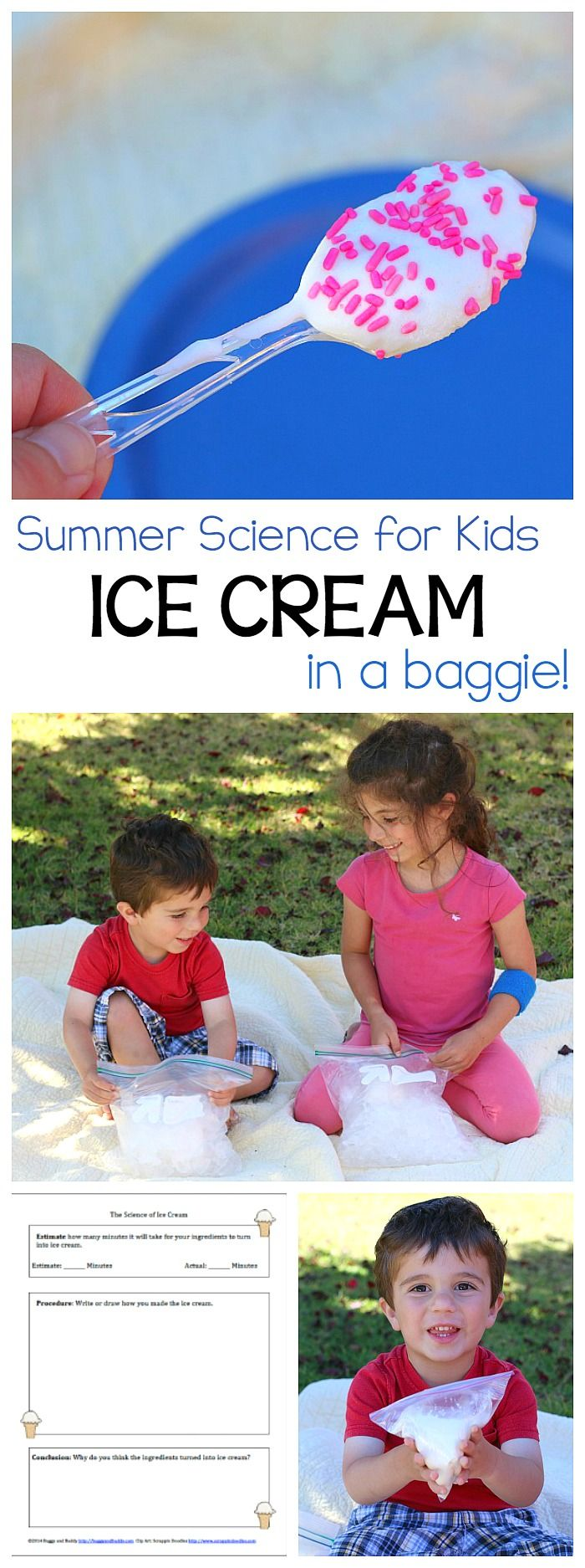 How to Make Ice Cream in a Bag: Fun science and STEM activity for summer! Includes a free printable recording sheet! Fun classroom activity or to do at home over break- preschool, kindergarten, first grade and up!  ~ BuggyandBuddy.com