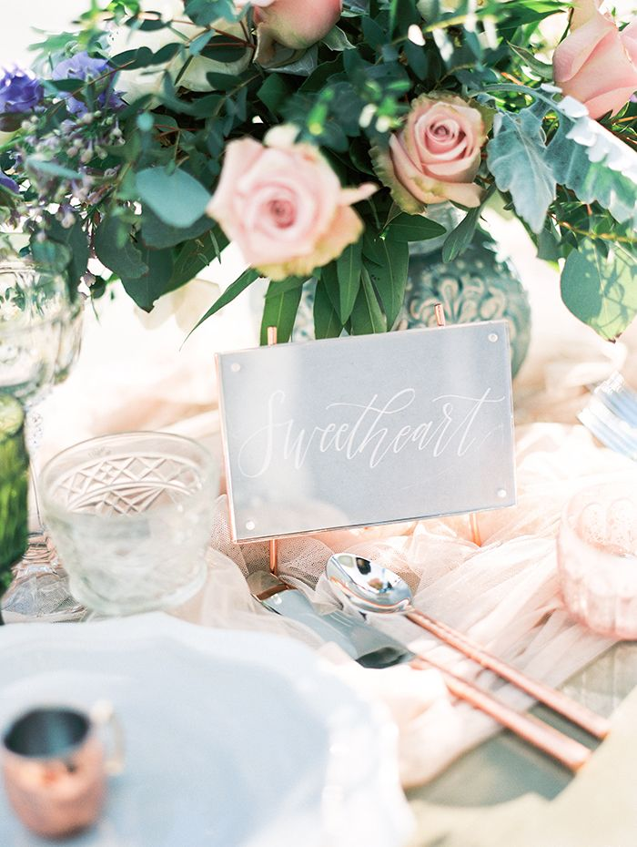 Blush and Rose Gold Wedding Decor with Romantic Flowers