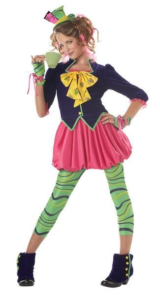 The Mad Hatter Tween Costume Includes dress, hat, leggings, glovettes, and shoe covers. Does not include tea cup or shoes. Weight (lbs) 1.14 Length (inches) 17 Width (inches) 13.5 Height(inches) 2 Teen Costumes Pink Large (10-12) GIRLS Everyday Female Teen