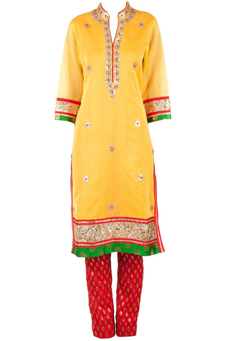 Yellow and red gota patti kurta set available only at Pernia's Pop-Up Shop.