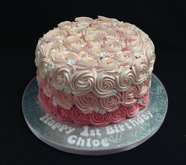 Pink Ombre Rosette Buttercream Frosted 1st Birthday Cake decorated by Coast Cakes Ltd