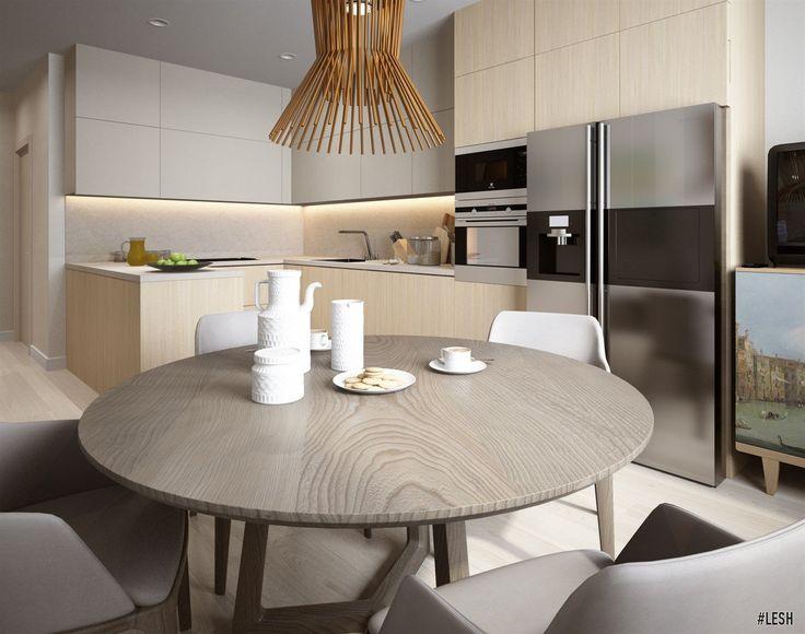 Современная кухня | Студия LESH (светлая, стул, кухня, бытовая техника, люстра, маленькая, современный дизайн)