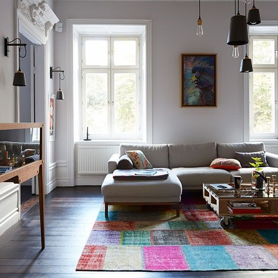 Eclectic living room with grey sofa | Decorating | housetohome.co.uk