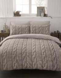 Cable Knit Duvet Cover Set King Size