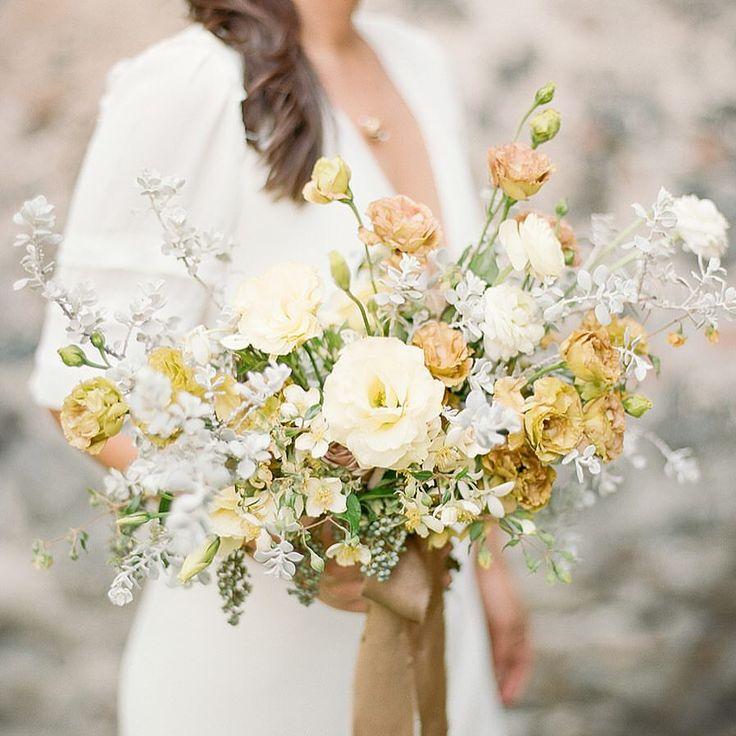 Yellow Gold Earth Tone Organic Floral Wedding Bridal