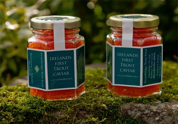 Irish Trout Caviar from Goatsbridge Trout Farm, Kilkenny. By all accounts delicious, and winning plaudits from Russian caviar experts