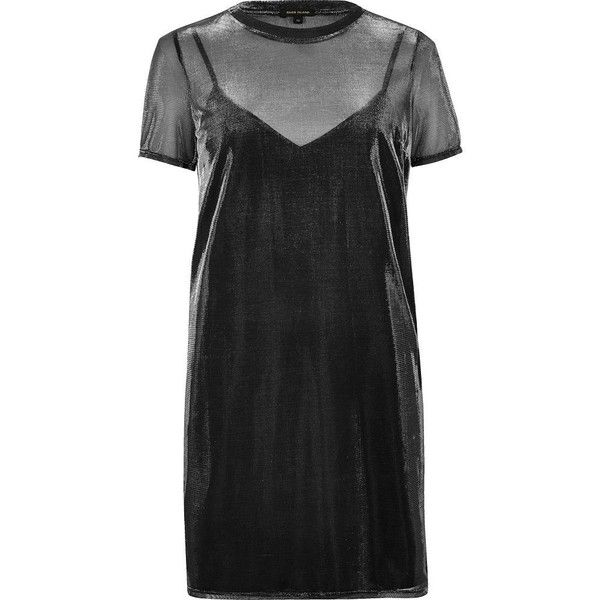 River Island Grey metallic sheer T-shirt dress (3,360 PHP) ❤ liked on Polyvore featuring dresses, tee shirt dress, gray dress, oversized t-shirt dresses, gray t-shirt dresses and slip dress
