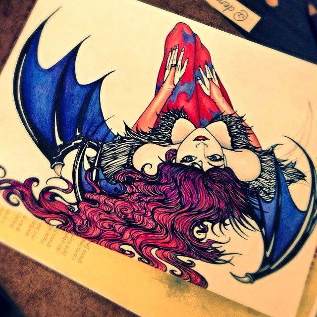 Drawing of Lightning Farron dressed as Morrigan from Darkstalkers.