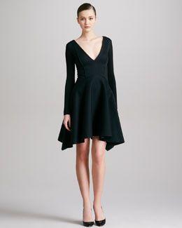 Donna Karan Seamed Plunging Long-Sleeve Dress, Black