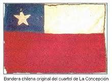 Bandera chilena izada durante la ocupación de La Concepción por un Batallón del Regimiento Chacabuco