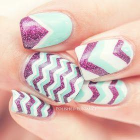 pink mint chevron nail art pink mint nail art hot pink mint white nail art nail polish manicure chevron nail art manicure