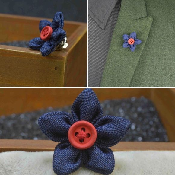 Handmade Fabric Floral Lapel Pin; Brand new; Made to order