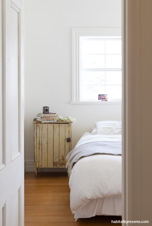 Warm Resene Rice Cake gives this bedroom a tranquil and restful space. From the book 'New Zealand Interior Style' by LeeAnn Yare and Larnie Nicolson.