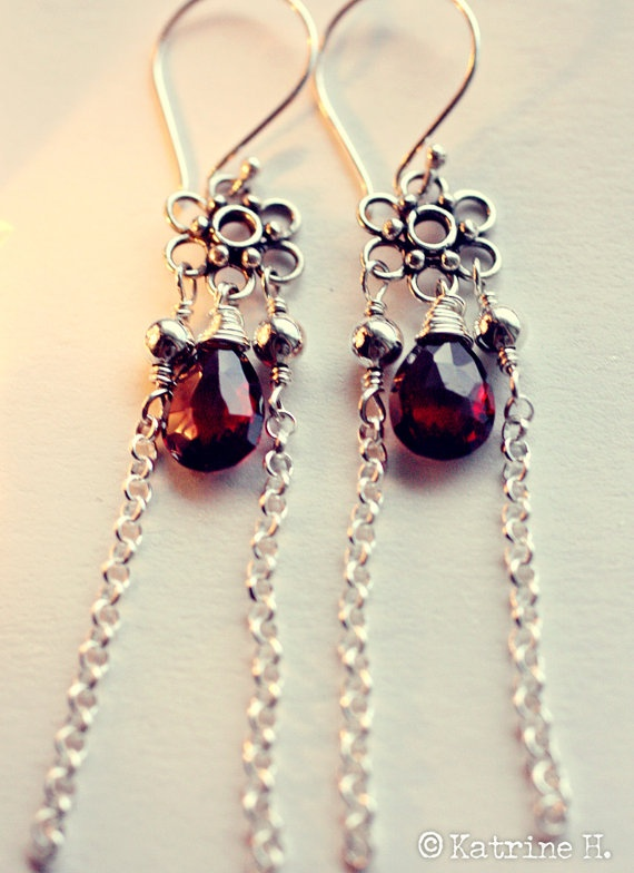 Genuine faceted garnets with hanging shiny silver chains by Katrine H.   $39.00