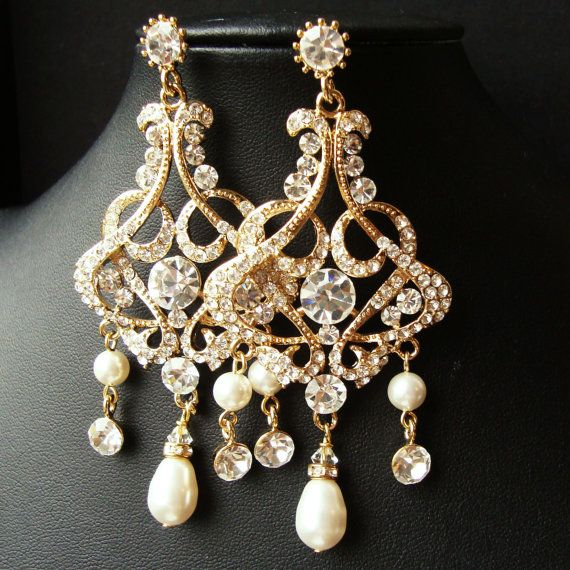 Gold Rhinestone Bridal Chandelier Earrings Vintage Jewelry Ivory White