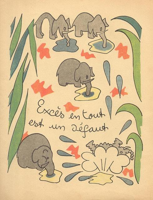 """¤  30 proverbes pour les enfants sages illustrations Henri Monier (1943) Editions Grund. """" l'excès en tout est un défaut"""""""