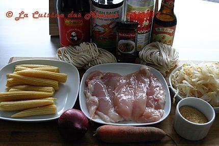 La meilleure recette de Poulet Sauté à la Sauce d'Huitre! L'essayer, c'est l'adopter! 5.0/5 (2 votes), 2 Commentaires. Ingrédients: 2 filets de poulets 1 cuillerée à soupe d'huile végétale 1 cuillerée à soupe de sauce de soja  2 cuillères à café de sucre cassonade 50 gr de germes de soja 50 gr de pousse de bambou (facultatif) 4 mini maïs 1 poivron(ou une carotte) 1 petit piment(ou purée de piment ou curry thaï) 1 oignon, quelques tiges de ciboule 2 cuillerées à soupe ...
