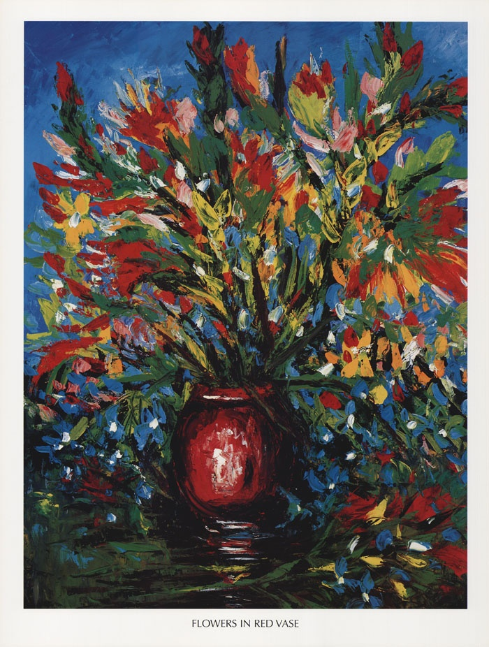 Flowers In Red Vase    Pro Hart