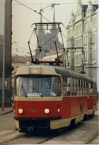 Brno+Tramvaj+zvláštní+vlak,++Feb+1992.+tatra+T3+tram++No.1562