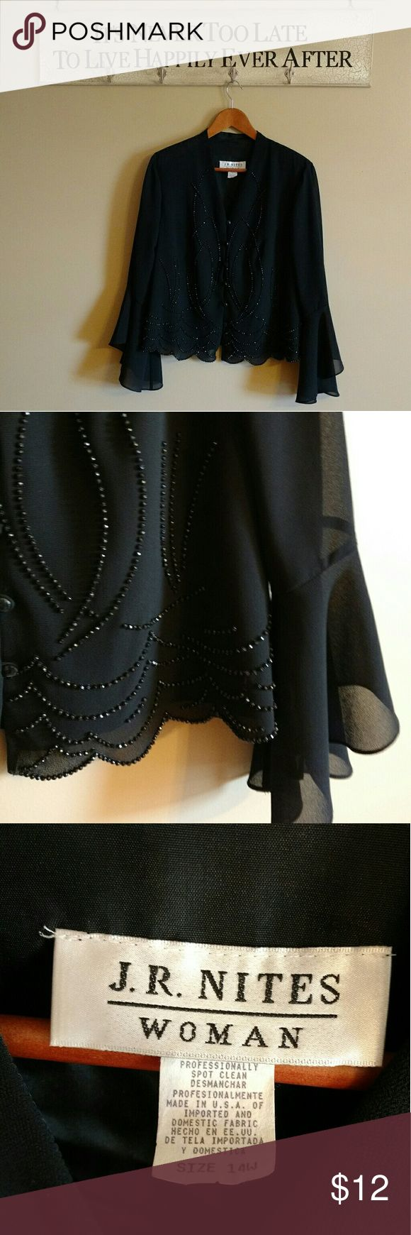Bell Sleeve Chiffon Jacket Beautiful black chiffon bell sleeve jacket with jet black studded detail. J.R. Nites Woman Jackets & Coats Blazers