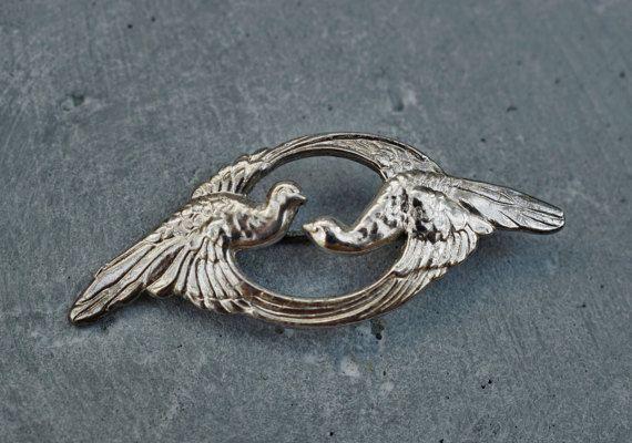 Vintage Art Nouveau Silver Brooch Love by PrettyDifferentShop