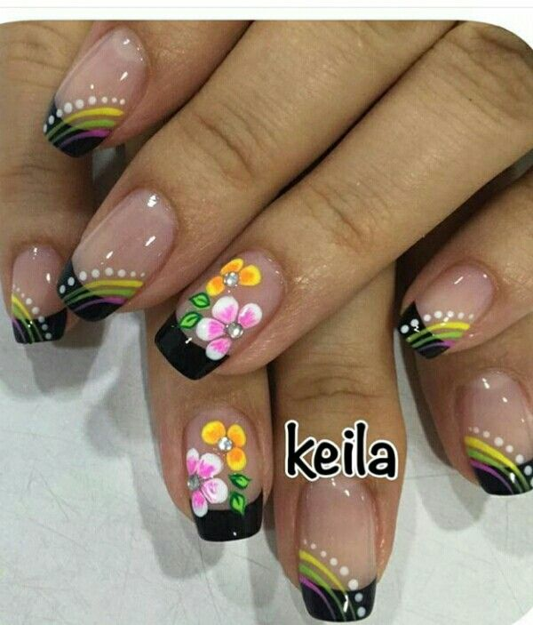 Black Tip French Manicure with Flowers