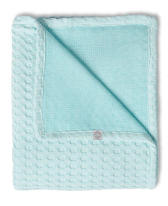 Waffle deken 75*100cm, 2-zijdig te gebruiken. Voorkant 100% katoen, achterzijde 50% katoen-50% acryl