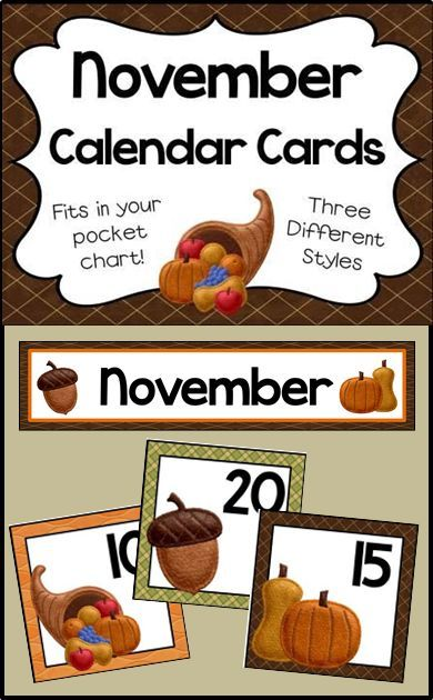 Number cards and header for your November calendar - Fits in your