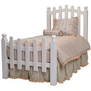 Picket fence headboard for girls.