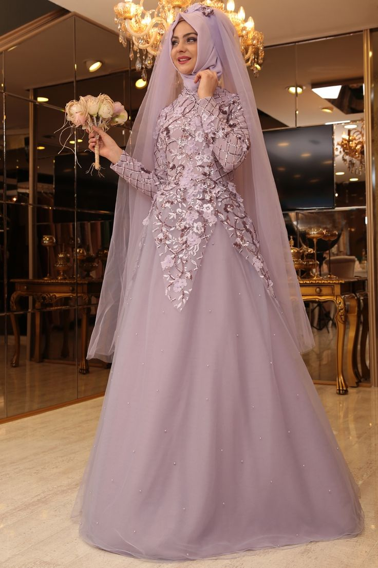 P nar ems salk m abiye lila brides islam pinterest for Wedding dresses for muslim brides
