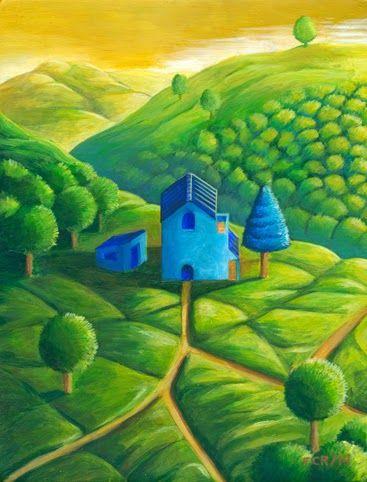 Felipe Camargo Rojas/ El refugio azul/ Acrílico sobre madera preparada a la creta/ 18 x 13,5 cm/ 2014