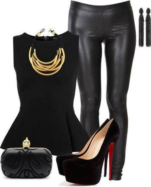 Black  leather leggings outfit | Stylish Darling | Pinterest | Leather leggings outfit Night ...