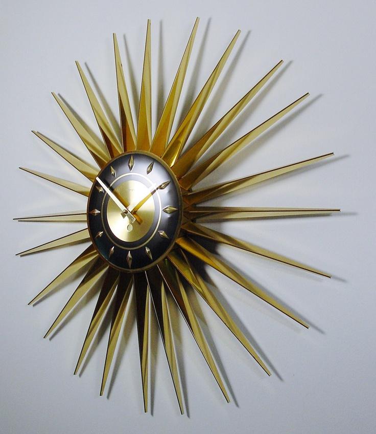 mid century modern starburst clock