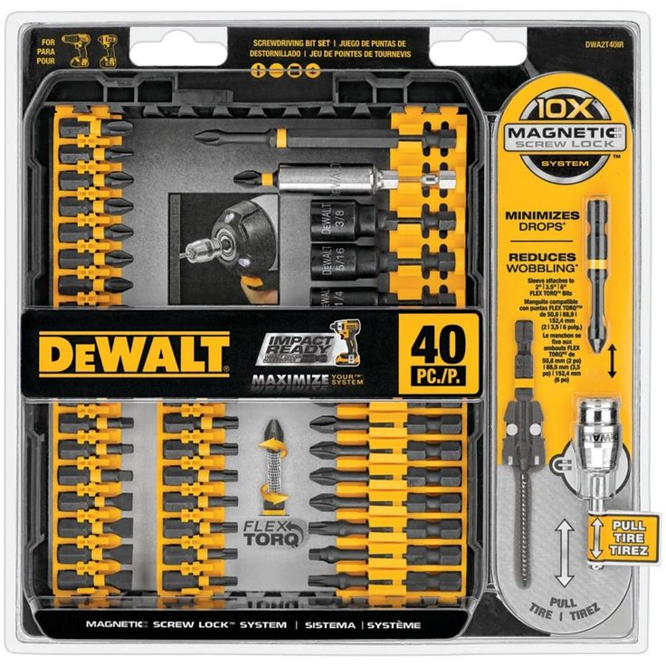 Dewalt Screwdriver Set 40 Piece IMPACT Ready Home Tool Kit Man Cave Gift For Him #DeWalt