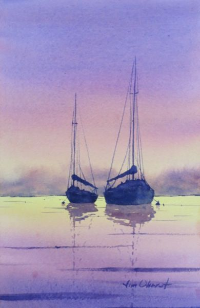 "Evening Dreaming - 11x7.5"" original watercolor painting by Jim Oberst - $100 incl. U.S. shipping"
